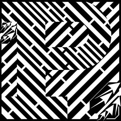 Alphabet Mazes Drawing - Letter P Maze Font by Yonatan Frimer Maze Artist