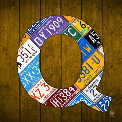 Mixed Media - Letter Q Alphabet Vintage License Plate Art by Design Turnpike