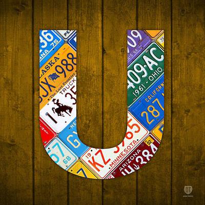 Letter U Alphabet Vintage License Plate Art Art Print