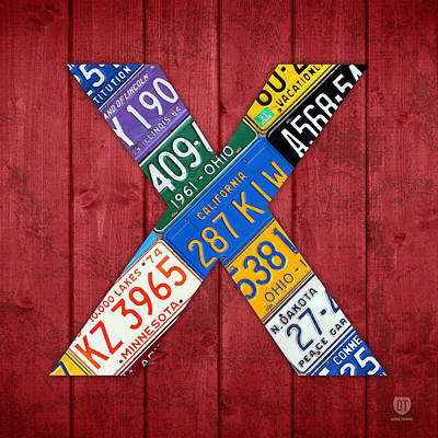 Mixed Media - Letter X Alphabet Vintage License Plate Art by Design Turnpike