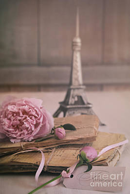 Photograph - Letters And Papers With Flowers And Small Eiffel Towerin Backgro by Sandra Cunningham
