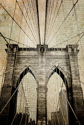 Nyc Skyline Photograph - Letters From Brooklyn - Brooklyn Bridge by Joann Vitali