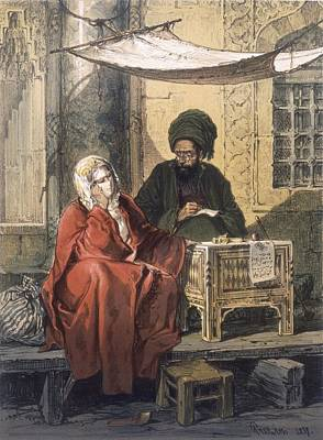 Istanbul Drawing - Letterwriting, 1858 by Amadeo Preziosi