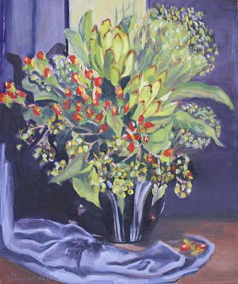 Painting - Leucodendrons In Retro Vase by Winifred Lesley