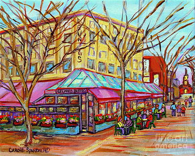 Montreal Streets Painting - Leunigs Bistro Church Street Panache Of Paris Cafe Paintings Of Vermont Carole Spandau  Artist by Carole Spandau