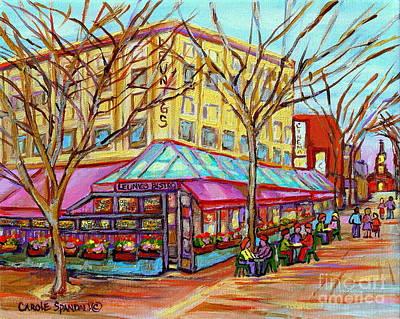 Leunigs Bistro Church Street Panache Of Paris Cafe Paintings Of Vermont Carole Spandau  Artist Original by Carole Spandau