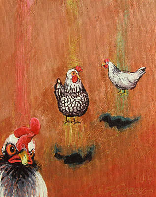 Painting - Levitating Chickens by Jeff Seaberg