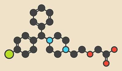 Levocetirizine Antihistamine Molecule Art Print by Molekuul