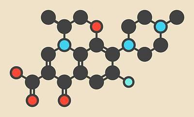 Anthrax Photograph - Levofloxacin Antibiotic Drug Molecule by Molekuul