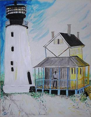 Art Print featuring the painting Lewes 1926 Lighthouse by Leslie Byrne