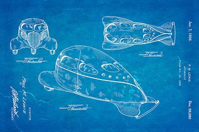 Lewis Airomobile Patent Art 1936 Blueprint Art Print by Ian Monk