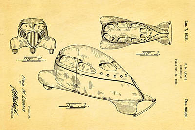Lewis Airomobile Patent Art 1936 Art Print by Ian Monk