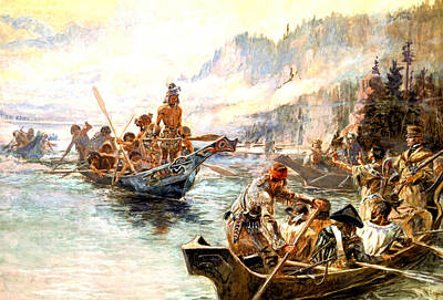 Canoe Digital Art - Lewis And Clark On The Lower Columbia  by Charles Russell