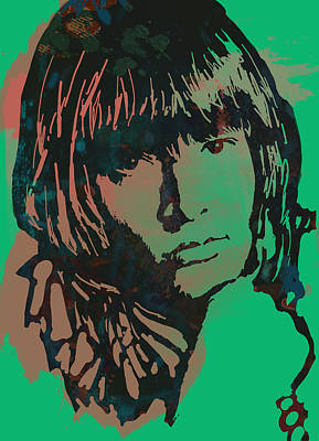 Rolling Stone Drawing - Lewis Brian Jones - Stylised Pop Art Drawing Portrait Poster  by Kim Wang