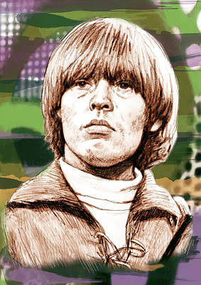 Rolling Stone Drawing - Lewis Brian - Stylised Pop Art Drawing Portrait Poster  by Kim Wang