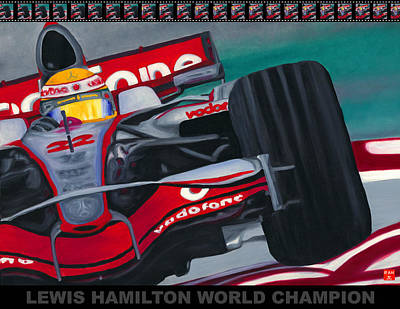 Painting - Lewis Hamilton F1 World Champion Pop by Ran Andrews