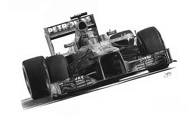 Mercedes Automobile Drawing - Lewis Hamilton by James Wing