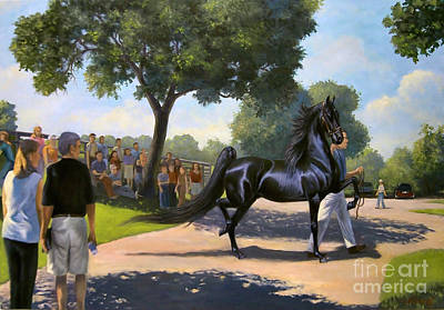 Landmarks Painting Royalty Free Images - Lexington Stallion Tour Royalty-Free Image by Jeanne Newton Schoborg