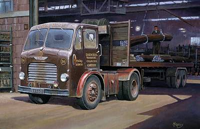 Lorry Painting - Leyland Beaver Artic. by Mike  Jeffries