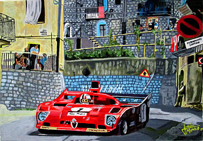 Alfa Romeo 33tt12 Nino Vaccarella.targa Florio 1975 Art Print by Jose Mendez