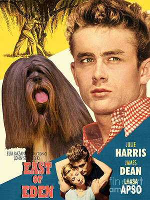 Painting - Lhasa Apso Art - East Of Eden Movie Poster by Sandra Sij