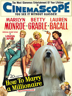 Lhasa Apso Art - How To Marry A Millionaire Movie Poster Art Print