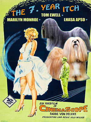 Painting - Lhasa Apso Art - The Seven Year Itch Movie Poster by Sandra Sij
