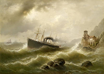 North Sea Painting - Lhootse Station On The North Sea by Albert Rieger