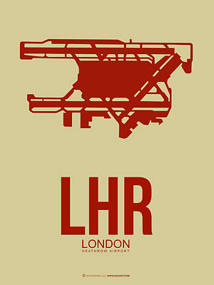 City Of London Digital Art - Lhr London Airport Poster 1 by Naxart Studio