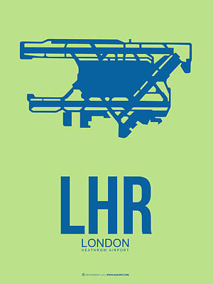 City Of London Digital Art - Lhr London Airport Poster 2 by Naxart Studio