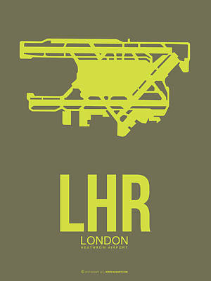 England Wall Art - Digital Art - Lhr London Airport Poster 3 by Naxart Studio