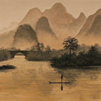 Mist Painting - Li River China by Darice Machel McGuire