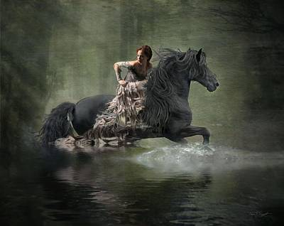 Black Friesian Photograph - Liberated by Fran J Scott
