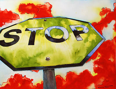 Liberating Stop Sign Art Print by Zuzana Vass