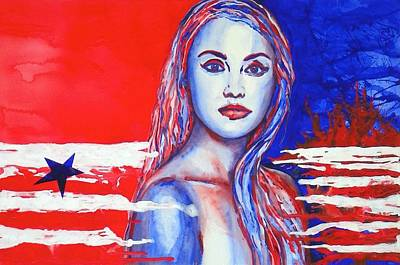 Painting - Liberty American Girl by Anna Ruzsan
