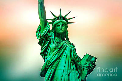 Red White And Blue Digital Art - Liberty And Beyond by Az Jackson