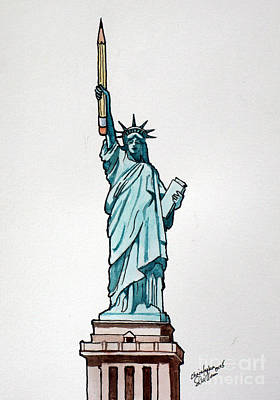 Drawing - Liberty And Freedom For All by Christopher Shellhammer