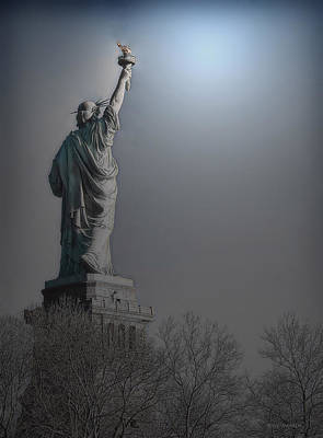 Photograph - Liberty At Night by Dyle   Warren