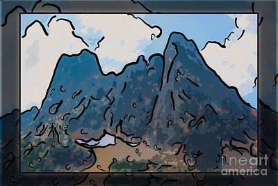 Van Goh Painting - Liberty Bell Mountain Abstract Landscape Painting by Omaste Witkowski