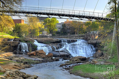 Liberty Bridge And The Falls In Downtown Greenville Sc Art Print