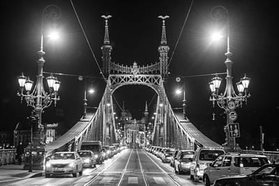 Photograph - Liberty Bridge At Night by Judith Barath