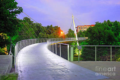 Liberty Bridge In Downtown Greenville Sc At Sunrise Art Print