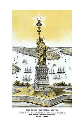Statue Of Liberty Mixed Media - Liberty Enlightening The World  by War Is Hell Store