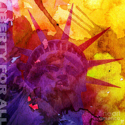 Revolt Digital Art - Liberty For All Watercolour by Neil Finnemore
