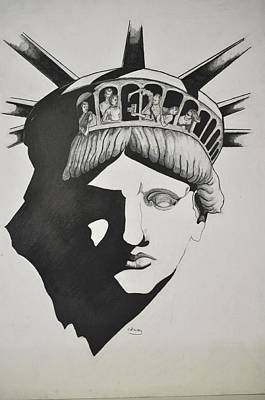 Drawing - Liberty Head With People by Glenn Calloway