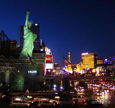 Statue Of Liberty At Night Photograph - Liberty In Vegas by John Malone