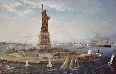 Sailboat Ocean Painting - Liberty Island New York Harbor by Fred Pansing