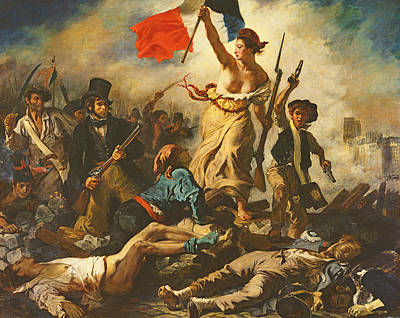 Liberation Painting - Liberty Leading The People, 28 July 1830 by Ferdinand Victor Eugene Delacroix