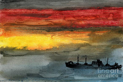 Tramp Steamer Painting - Liberty Made It by R Kyllo