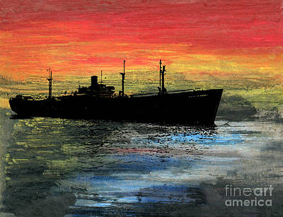 Tramp Steamer Painting - Liberty On The Seas by R Kyllo